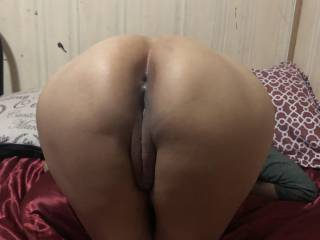 my lady friend laying face down with her ass up.. sight looks satisfying