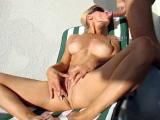 Masturbating while sucking hubby\'s hard cock ready to explode!