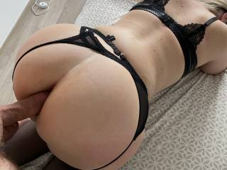Hubby went balls deep into my red, spanked ass
