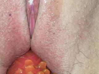 Sliding in one of her fav toys to get that tasty pussy nice and creamy for my hard cock to dive into! Love seeing her sweet clit as I stuff her. I may or may not cum all over it later!