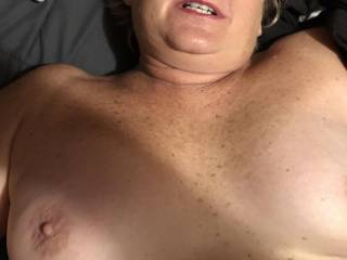 She like to show her mature tits. Would you cum on them if so shows you?