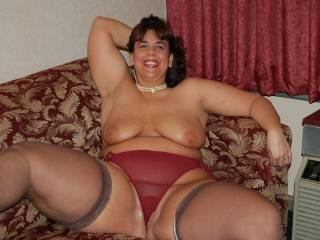 Lovely sexy body.love your red knickers your a very sexy women love to lick you all over.
