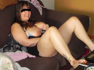 wife playing with herself while she chats with guys on line ;)  do you want to watch her do this on cam?