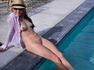 """Your slit, crotch and mound are looking perfect, and your tits very delish. Beautiful """"camel toe"""" to flaunt around the pool every time you go naked for a nice tan, babe."""