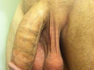 Mmmm, now that's a well hung and delicious looking cock...I'd have fun swallowing your cock and those delicious balls too.  MILF K