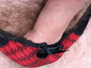 wifes red and black panties