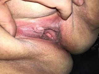 Me spreading BBW plump pussy lips, nice big sensitive clit
