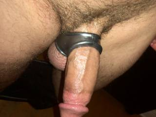 Enjoying my new cock and ball ring