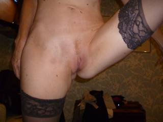 getting a little closer to my shaved red pussy landing strip in stockings and heels