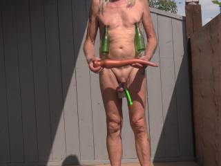 """All decked out with my perv equipment ! Nipples pumped,balls ringed, cock stuffed and my 18"""" anal snake ready to go !"""