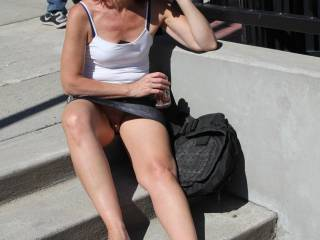 In our chat he said his wife finally agreed to go out, without panties on. I never wear panties and applaud his wife. Here are some of me around town, over the years. For all you guys, there are more women out there sans panties than you think.