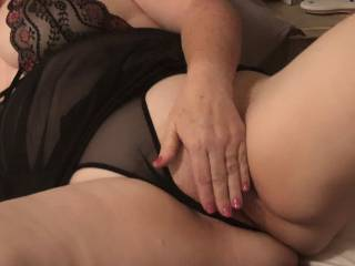 getting turned on now, panties pulled aside but playfully hiding the sweet spot, shall I have her move her hand?