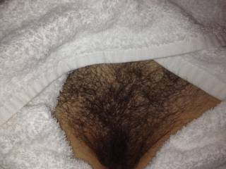 Hairy pussy surrounded by hotel towels after shower pre fuck
