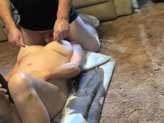 Sucking on his dick and balls while using vibrator on my pussy Feels so good when he  plays with my tits and pulls on my hard nipples. Have a video of us both cumming, would you like to see it?