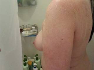 Frisky hubby pulled back the shower curtain... again!