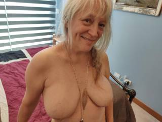 I would love you to accessorize my big tits with your love! Cover them with that wonderful, warm cum of yours, dear. Mmm...