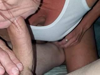 Love it when she sucks my hard big cock so good before she slides it inside her