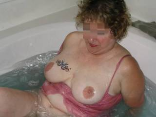 I love to see my wife's tits all nic and wet and shiny.  What do you think ?