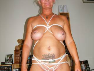 Love it, youlook great and the rope between your hot lips looks great and must have felt great too xoxoox peter