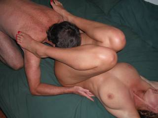 Our swinger friend dines on my pussy at the last swinger party