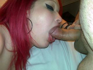 Mmmm, I do to.  She looks so good sucking your hard cock.  I bet she is enjoying it too.  I would love to be there helping her with eating that cock.  K