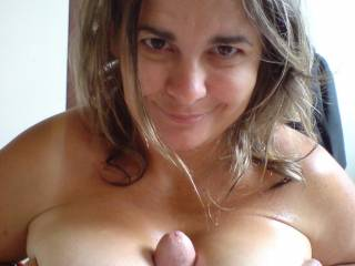 In between my boobs there is a cock getting ready to cum ;D