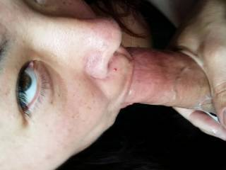 She took every drop.  And sucked me so  good and licked up my cum. Any one else want to suck me?