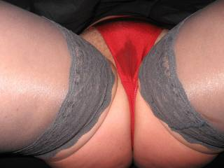 ready to take my panties aside and let my horny hubbie give me a good fuck..doggie style..