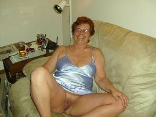 "What a lovely picture! A happy mature lady being ""naughty"" is so erotic. You're such a turn-on I hope you let us take a peek at you often! A longer look on video would be magic!"