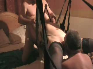 Fingering and licking Emma's hot pussy while she sucks on Robsready's cock. I love her in that swing. mmmmm
