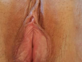 With a bit of licking my pussy went wide open for his cock.  Who want to see the after shot?