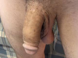 Side shot of my soft cock. Anyone want to help make him hard?
