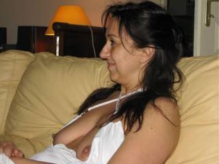 She is having fun watching my wife and Janice both sucking her husband\'s dick. He covered  their faces with his cum and she went over at their request to help clean their faces with her tongue. Great night it was.
