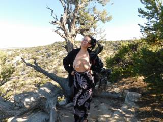 Meant to take more pictures in the beautiful Utah desert while driving down I-70, but I was so tired I caught some ZZZ\'s most of the way.  Still managed to pull off at Ghost Rock View Area and take a quick topless photo!