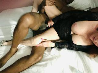 Wife shoving vibrator in while filled with 10 inches of BBC