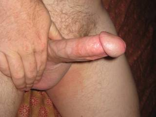 hubby's hard cock ready for entry