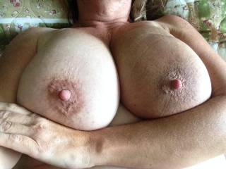 I could say my cock is missing. I could say my cum is missing. I could say my mouth, my hands, or even another woman's mouth or breasts. But the only thing missing here is your bra. And I'm thankful it's missing ;-) Great shot of your breasts.