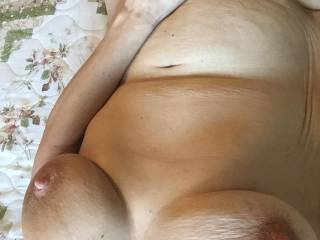 Hmmmm I'll suck on your sweet stiff nipples then move your hand and lick your clit til you cum on my face!