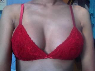 My boobies in my fav bra :P put ur big cock between them titie fuck me till u cum on my chin hihi