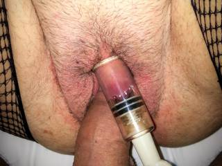 teasing her with my tip while she inflates her clit.  gets her super aroused.