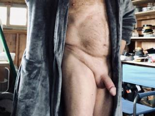 Horny, flashing my cock in my shop.