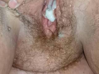 Watch my cum ooze out of her freshly fucked pussy