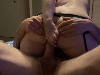 After riding a while on his big cock with my cunt I wanted to feel him in my ass