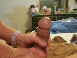 Girlfriend gives a big cock a handjob with big cumshot