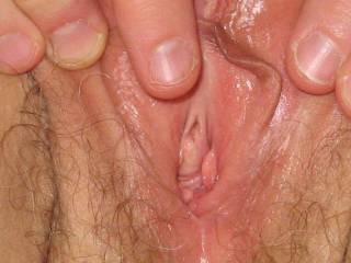 Close up of her wet cunt, ready for cum