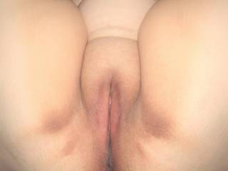 My wife's soft chubby pussy and thighs. Who'd like to go balls deep in that plump mound and see how long they can last before blasting their warm load deep inside her?