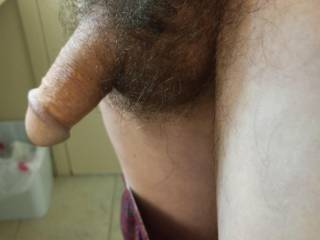 Morning cold cock. Need balls warmed up so they can drop down. Then you feel them slapping your ass as I fuck you and then slam and hold as deep as I can then cum in your big hairy pussy. You\'ll feel the hot cum going in your pussy.