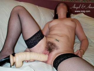 """The end of a nice """"LONG SLOW STRIP"""" #13... (My   dildo...  10"""" and a """"SUPER TIGHT FIT"""")."""