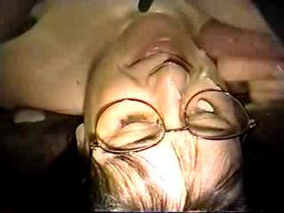 We loved seeing him cum on your pretty face and glasses.  Very hot vid.