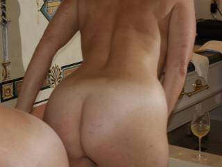 Wow! That is a beautiful ass. I would give it a 10 plus. Would love to spank it and fuck it for her.